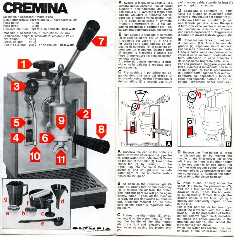 olympia espresso machine parts