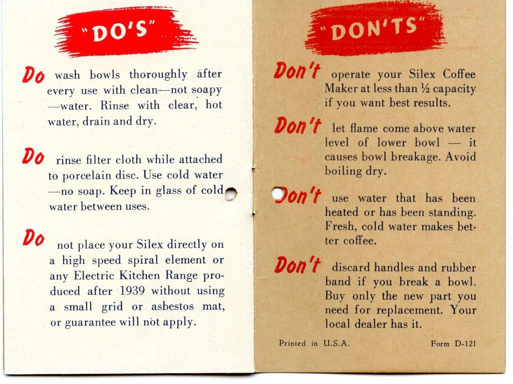 Silex Vacuum Coffee Maker Instruction Page 5